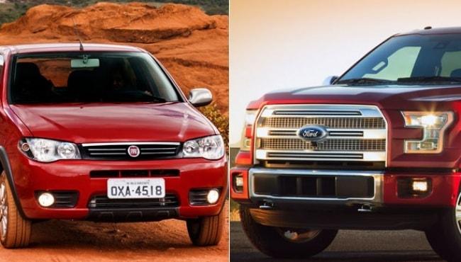 Os 10 carros mais vendidos do Brasil e do EUA